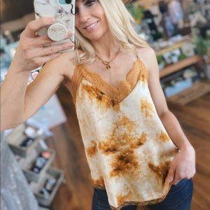 Looking For You Tie Dye Lace Cami-Caramel